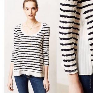 Postmark • Striped Pleated Ruffle Hem Pullover Top